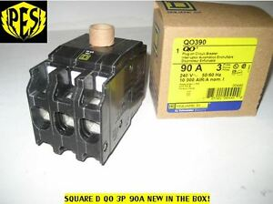 New In Box Square D Qo390 3 Pole 90 Amp Circuit Breaker Qo Plug In 3 Phase