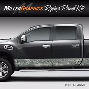 Camo Digital Army Rocker Panel Graphic Decal Wrap Kit Truck Suv 4 Size Options