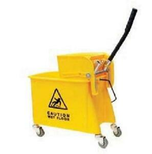 24 Quart Commercial Wet Mop Bucket Wringer Combo Yellow Janitorial