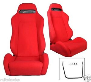 2 Red Cloth Racing Seats Reclinable W Sliders Fit For Ford Mustang