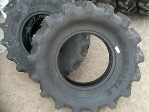 Three 9 5x16 R1 6 Ply Bar Lug Backhoe Kubota Mx5000dt Farm Tractor Tires