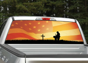 Fallen Soldier American Flag Sunset Rear Window Decal Graphic For Truck Suv Van