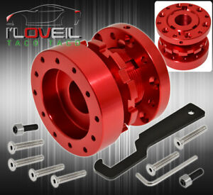 For Ford Steering Wheel Hub Adapter Adjustable Extension 6 Bolt Mounting Set Red