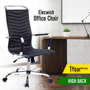 Executive Swivel Office Chair Racing Style Computer Seat High Back Leather White