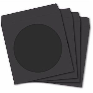 100 Premium Black Paper Sleeve Window Flap Cd Dvd 100p free Fast Shipping