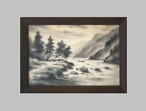 Original Cir 1920 Japanese Sumi Ink Drawing River Scene