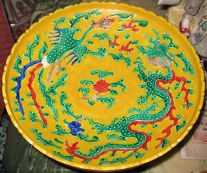 Antique Chinese Porcelain Dragon Phoenix Pedestal Dish Ming Mark 18th C Nr