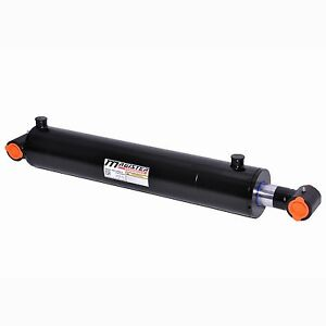 Hydraulic Cylinder Welded Double Acting 4 Bore 24 Stroke Cross Tube 4x24 New