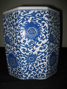 Antique Chinese Brush Pot Porcelain Octagon Blue And White 19th Century Nr