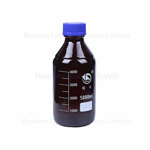 5000ml amber Brown Glass Reagent Bottle W blue Plastic Lid 5l graduation 4000ml