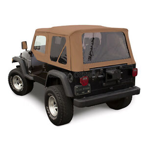 Jeep Wrangler Tj Soft Top 97 02 Upper Doors Tinted Windows Saddle Sailcloth