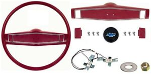 1969 1970 Camaro Chevelle Nova Deluxe Steering Wheel Kit W bowtie Red