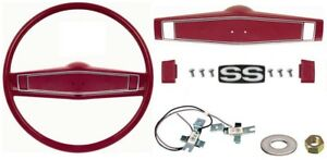 1969 1970 Camaro Chevelle Deluxe Steering Wheel Kit W ss Center Cap Red
