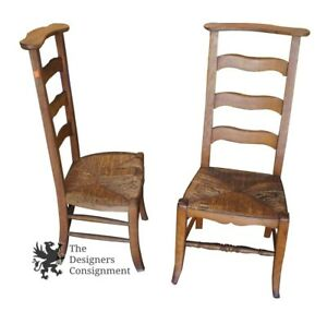 2 Antique Ladderback Butler Chairs Clothing Valet Wicker Seat Arts Crafts