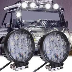 2pcs 27w Led Work Light Bar Flood Driving Lights Offroad Fog 4wd Boat Ute Round