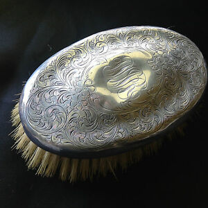 Antique Sterling Silver Oval Grooming Brush Monogrammed