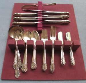 41 Pc Lg Complete Set For 6 International Sterling Silver Bridal Veil Flatware