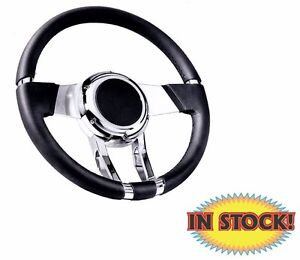 Flaming River Fr20150 Waterfall Steering Wheel Black Leather