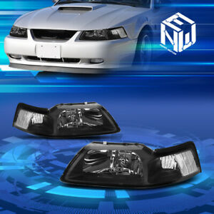 Fit Ford Mustang 99 04 Cobra Gt V8 Euro Black Housing Headlights Clear Corner