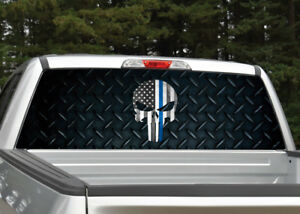 Punisher Skull Police Blue Diamond Plate Rear Window Decal Graphic For Truck Suv