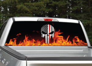 Punisher Skull Firefighter Fire Flames Rear Window Decal Graphic For Truck Suv