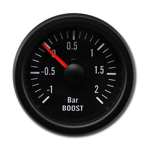 Taiwan Made 52 Mm Black Face Black Rim Mechanical Auto Turbo Boost Gauge 2 Bar