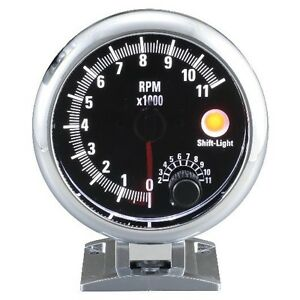 95 Mm 3 3 4 Inches Auto Tachometer 0 11000 Rpm With Shift Light Black Face
