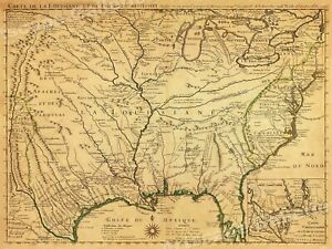1718 Lousiana Territory Mississippi River Historic Map 24x32