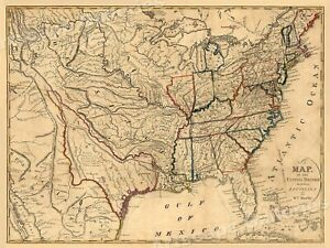 1818 Map Of United States Including Lousiana Territory 18x24