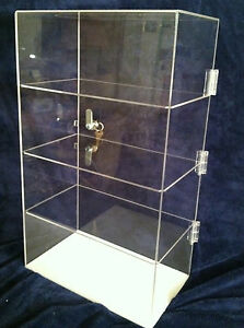 Acrylic Countertop Display Case 12 x9 x 20 5 Locking Security Show Case shelves