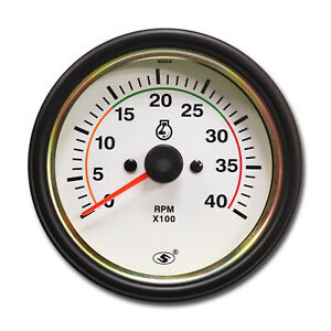 85 Mm Electrical Auto Tachometer Gauge Diesel 12 V 24 V 0 4000 Rpm white