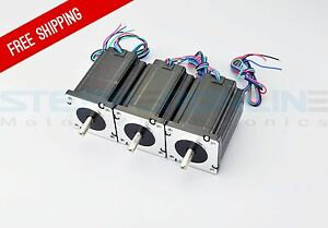 Us Ship 3pcs Dual Shaft Nema 24 Cnc Stepper Motor 439oz in 3 1nm Cnc Kit 3 Axis