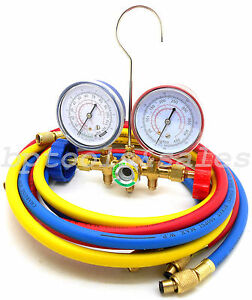 R12 R22 R502 Manifold Gauge Set Hvac Ac Refrigeration Test W 6ft Charging Hoses