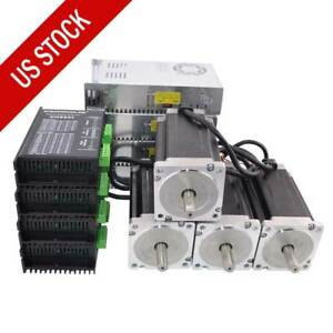 4 Axis Cnc Kit 13nm 1841oz in Nema 34 Stepper Motor Driver Power Supply