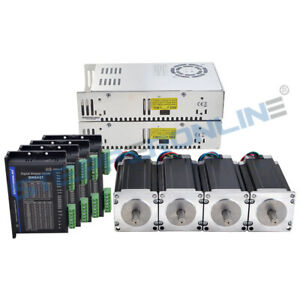 Us Ship 4 Axis Cnc Kit 425oz in Nema 23 Stepper Motor Dm542t Driver Diy Cnc