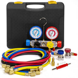 4 Way Ac Manifold Gauge Set R134a R134 R410a R404a R22 W hoses Coupler Adapters