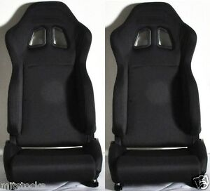 New 2 Black Cloth Racing Seat Reclinable W Slider 1964 2012 Ford Mustang