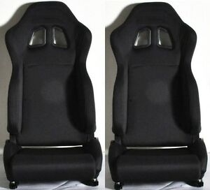 2 Black Cloth Racing Seats Reclinable Sliders For Mitsubishi