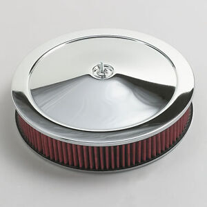 Chrome Air Cleaner Washable Red Filter 14 Edelbrock Carburetor Ford Truck Car