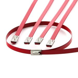 10 12 Red Locking Stainless Steel Zip Ties For Cable Exhaust Header Pipe Wrap