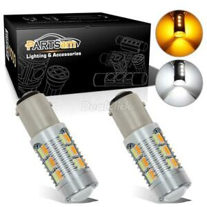 2x 1157 Dual Color Switchback 6000k White Amber 5730 Led Turn Signal Light Bulbs