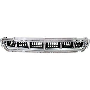 Bumper Grille For 2013 2016 Cadillac Xts Center Chrome Shell W Black Insert