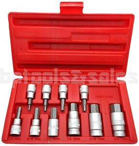 10pc 3 8 1 2 Drive Hex Key Allen Head metric Socket Bit Set 3 17 Mm