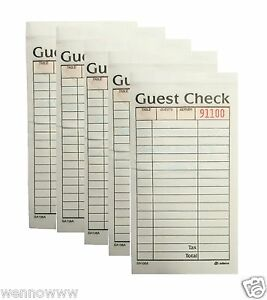 Guest Check 2 part Carbonless 5 Book 50 Checks