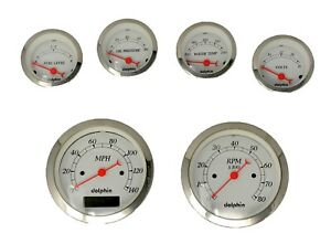 6 Gauge Hot Rod Street Rod Universal Dash Set Programmable Speedometer White