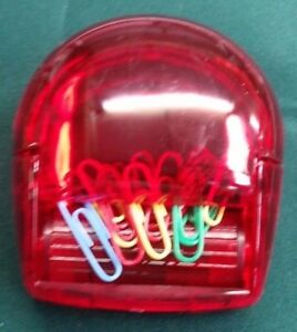 200 X Paper Clip Holder W Magnetic Spinner Red Office Nib