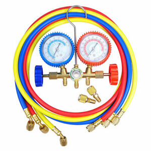 Refrigerant 2 valve R410a Manifold Gauges 60 Hoses Hvac Ac Detection Tools