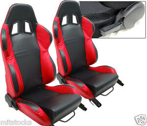 New 2 Black Red Leather Racing Seats Reclinable W Slider All Chevrolet