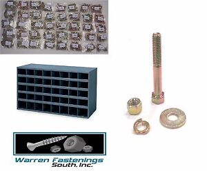 Grade 8 Bolt Nut And Washer Assortment Kit 1500 Pc W 40 Hole Storage Bin Coarse