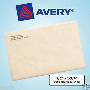Avery Easy Peel Laser Mailing Labels 1 2 X 1 3 4 Clear 2 000ct